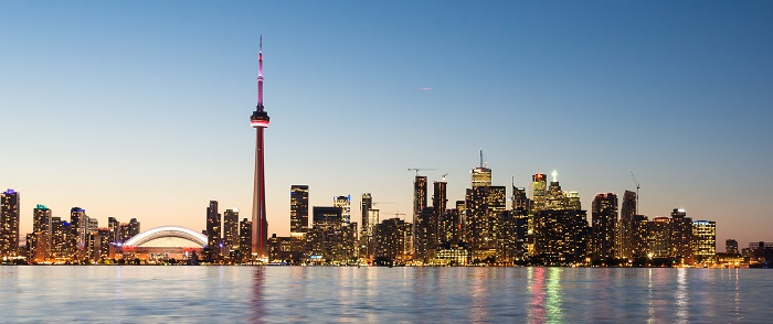 Canadian city scenery from ocean