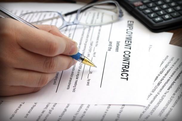 employment contract closeup